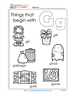 Things That Begin With G - Alphabet Printables