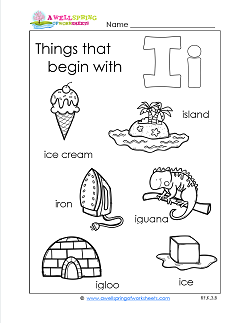 Things That Begin With I - Alphabet Printables