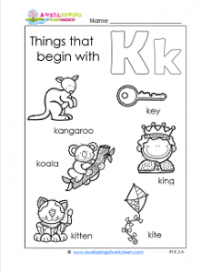 Things That Begin With K - Alphabet Printables
