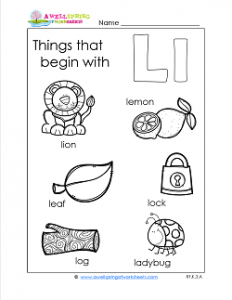 Things That Begin With L - Alphabet Printables