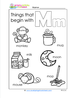 Things That Begin With M - Alphabet Printables