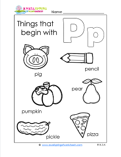 Things That Begin With P - Alphabet Printables