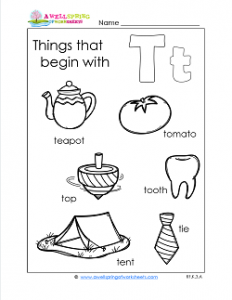 Things That Begin With T - Alphabet Printables