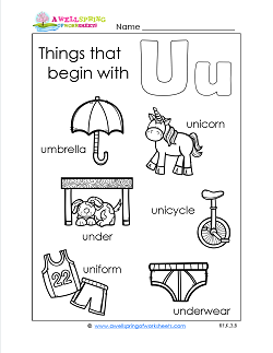 Things That Begin With U - Alphabet Printables