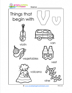 Things That Begin With V - Alphabet Printables