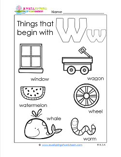 Things That Begin With W - Alphabet Printables