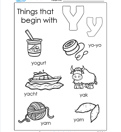 Things That Begin With Y - Alphabet Printables