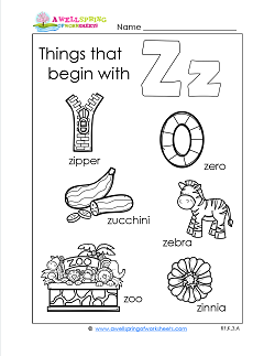 Things That Begin With Z - Alphabet Printables
