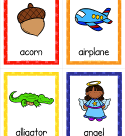 Things that Start with A Cards - Alphabet Printables