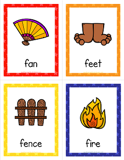 Things that Start with F Cards - Alphabet Printables