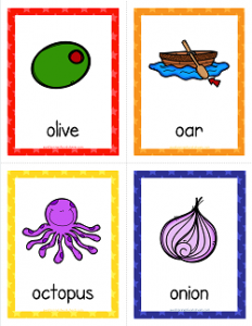 Things that Start with O Cards - Alphabet Printables