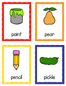 Things that Start with P Cards - Alphabet Printables