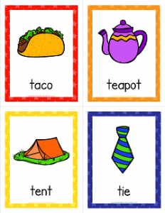 Things that Start with T Cards - Alphabet Printables