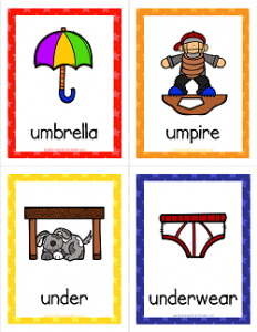 Things that Start with U Cards - Alphabet Printables