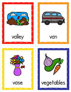 Things that Start with V Cards - Alphabet Printables