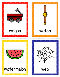 Things that Start with W Cards - Alphabet Printables
