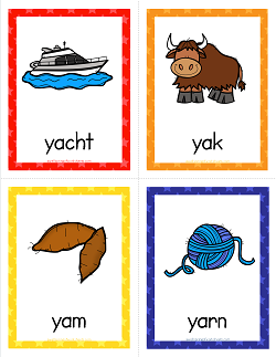 Things that Start with Y Cards - Alphabet Printables