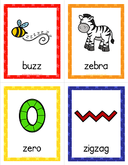 Things that Start with Z Cards - Alphabet Printables