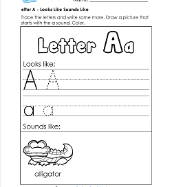 Letter A Looks Like Sounds Like Worksheet - Alphabet Worksheets