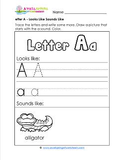 Letter A Looks Like Sounds Like Worksheet - Alphabet Worksheets