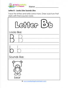 Letter B Looks Like Sounds Like Worksheet - Alphabet Worksheets