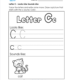 Letter C Looks Like Sounds Like Worksheet - Alphabet Worksheets