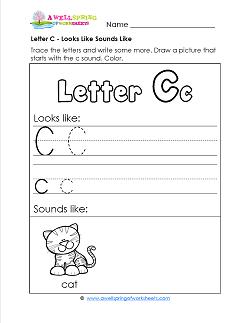 Letter C Looks Like Sounds Like Worksheet - Alphabet Worksheets
