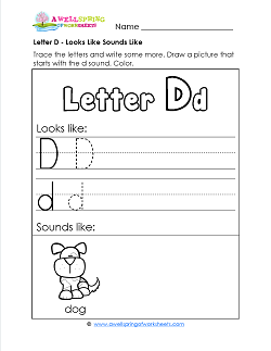 Letter D Looks Like Sounds Like Worksheet - Letter D Worksheets