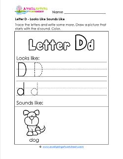 Letter D Looks Like Sounds Like Worksheet - Letter D Worksheets