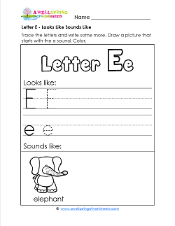 Letter E Looks Like Sounds Like Worksheet - Alphabet Worksheets