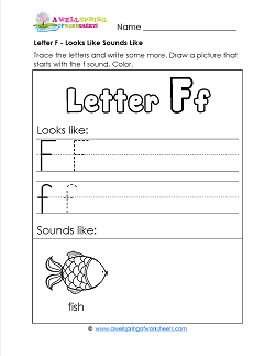 Letter F Looks Like Sounds Like Worksheet - Alphabet Worksheets