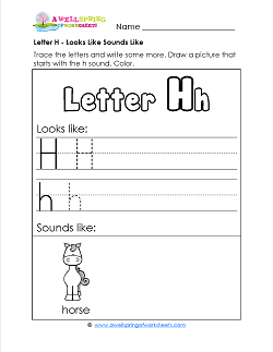 Letter H Looks Like Sounds Like Worksheet - Alphabet Worksheets