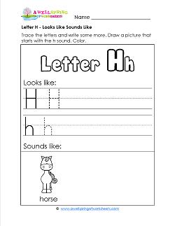 Letter H Looks Like Sounds Like Worksheet - Alphabet Worksheets