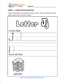 Letter J Looks Like Sounds Like Worksheet - Alphabet Worksheets