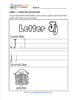 Letter J Looks Like Sounds Like Worksheet - Alphabet Worksheets