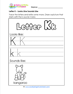 Letter K Looks Like Sounds Like Worksheet - Alphabet Worksheets