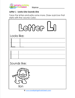 Letter L Looks Like Sounds Like Worksheet - Alphabet Worksheets