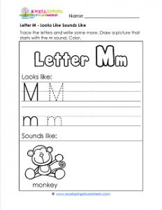 Letter M Looks Like Sounds Like Worksheet - Alphabet Worksheets