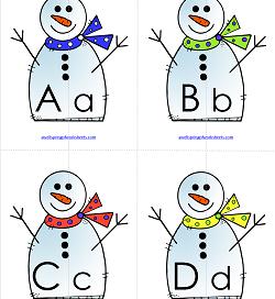 Letter Match - Snowmen | Alphabet Matching