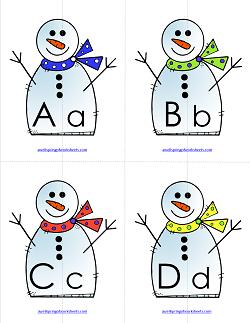Letter Match - Snowmen   Alphabet Matching
