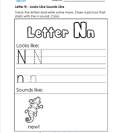 Letter N Looks Like Sounds Like Worksheet - Alphabet Worksheets