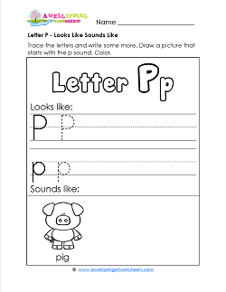 Letter P Looks Like Sounds Like Worksheet - Alphabet Worksheets