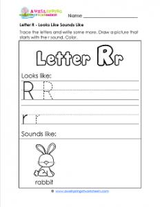 Letter R Looks Like Sounds Like Worksheet - Alphabet Worksheets
