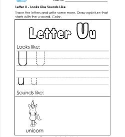 Letter U Looks Like Sounds Like Worksheet - Alphabet Worksheets