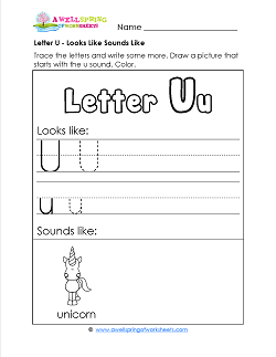 Letter U Looks Like Sounds Like Worksheet - Alphabet Worksheets