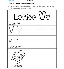 Letter V Looks Like Sounds Like Worksheet - Alphabet Worksheets