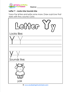 Letter Y Looks Like Sounds Like Worksheet - Letter Y Worksheets