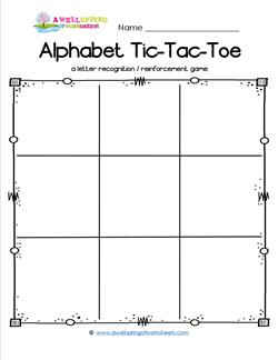 Alphabet Tic-Tac-Toe Worksheet - Alphabet Games