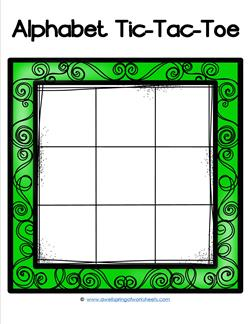 Alphabet Tic-Tac-Toe - Green - Alphabet Games