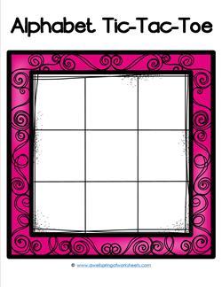 Alphabet Tic-Tac-Toe - Pink - Alphabet Games
